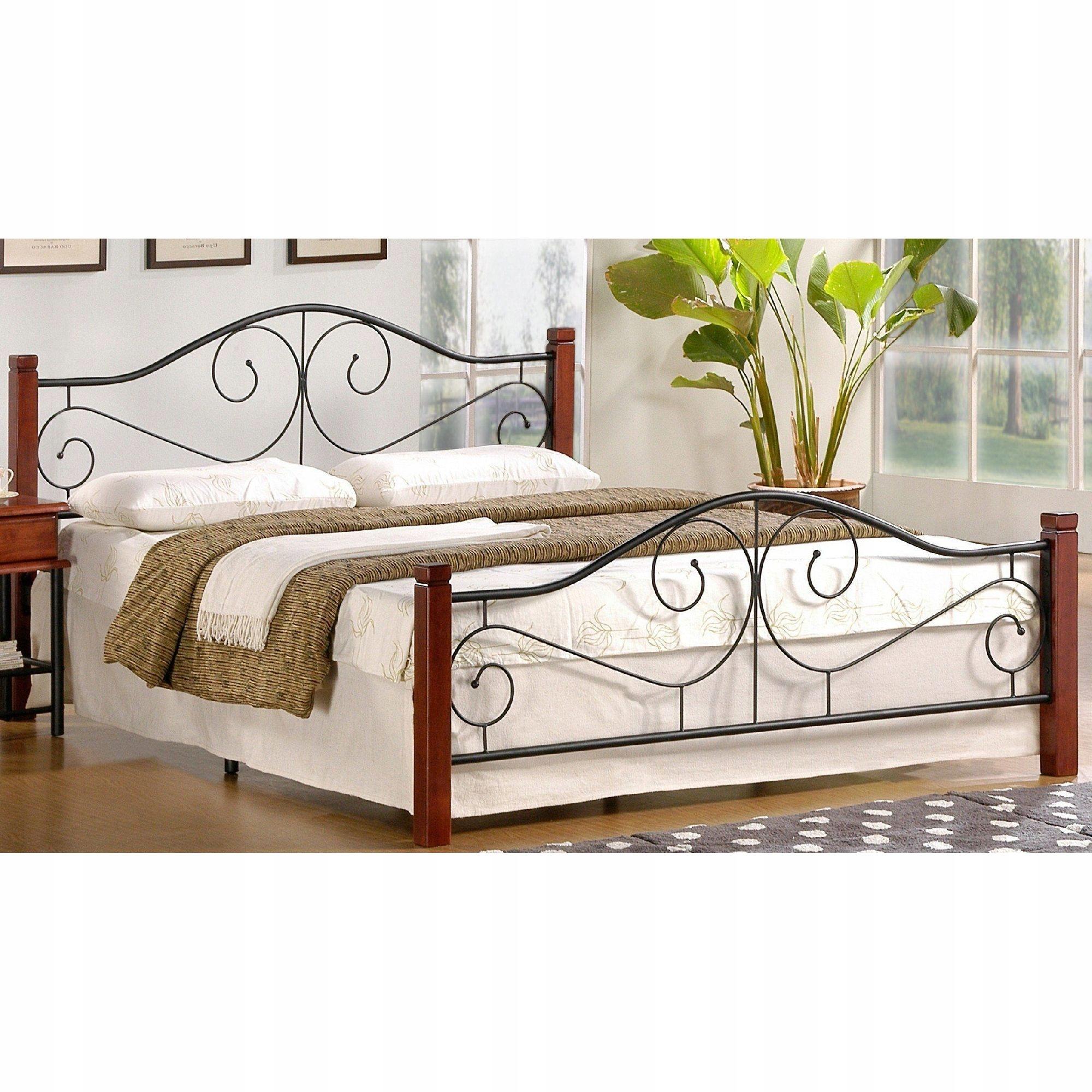 Retro posteľ 160 x 200 FIALOVÁ Drevo / Kov