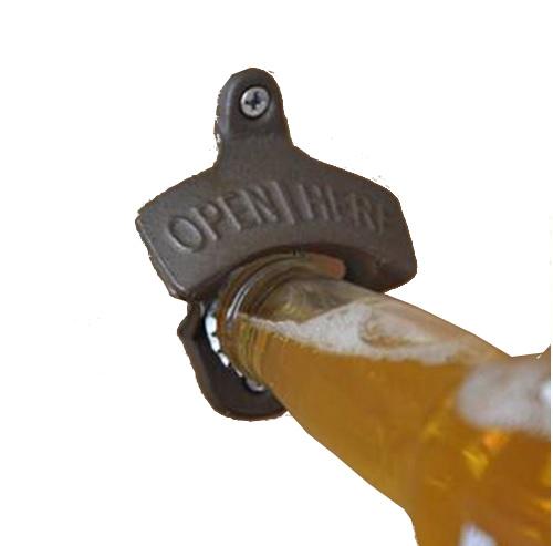 Otvárač pivného fľaša na stenových čiapkach