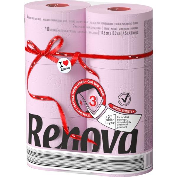 Туалетная бумага RENOVA Maxi розовый 6 штук