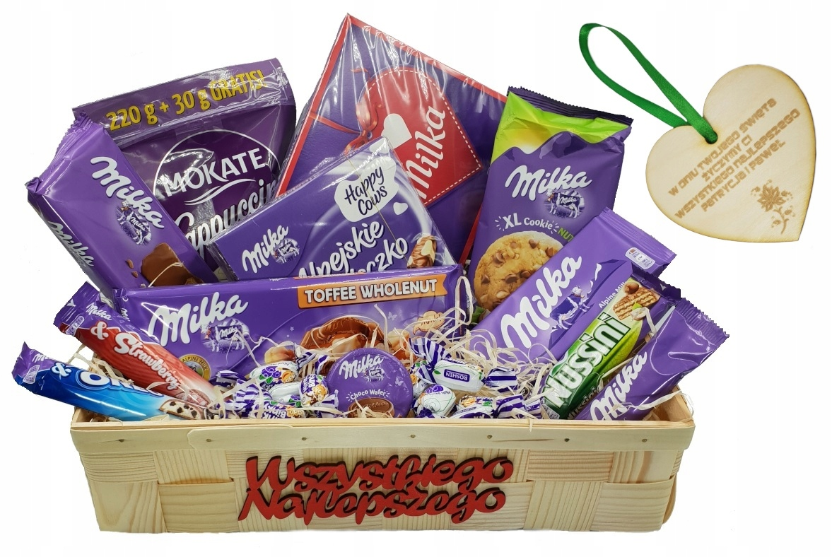 Item The gift basket ENGRAVER Candy MILKA as a GIFT