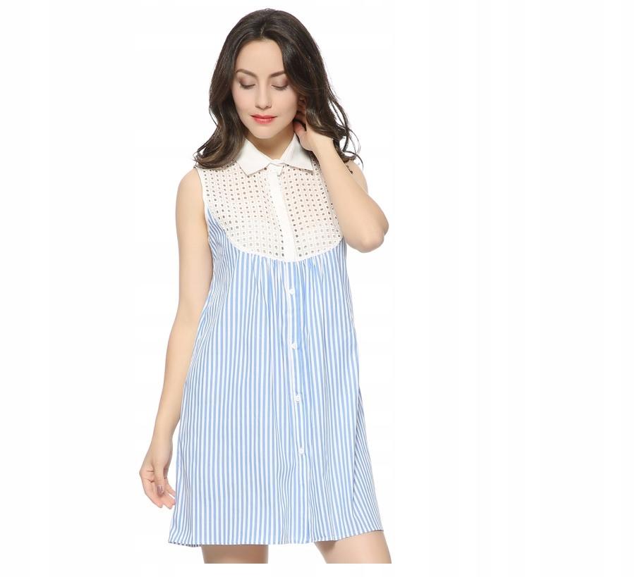 Modré šaty s prelamovaným golierom, pruhy s