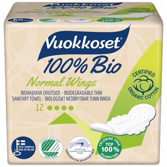 гигиенические прокладки с крылышками NORMAL био 12sz VUOKKOSET