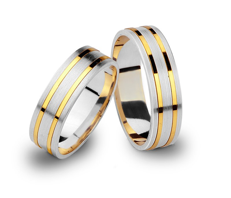 Item SILVER AND GOLD WEDDING RINGS BANDS 925 585