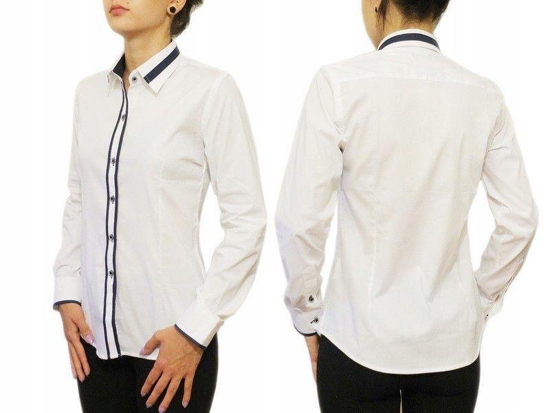 Biała koszula damska Slim granatowe wstawki 44/XXL