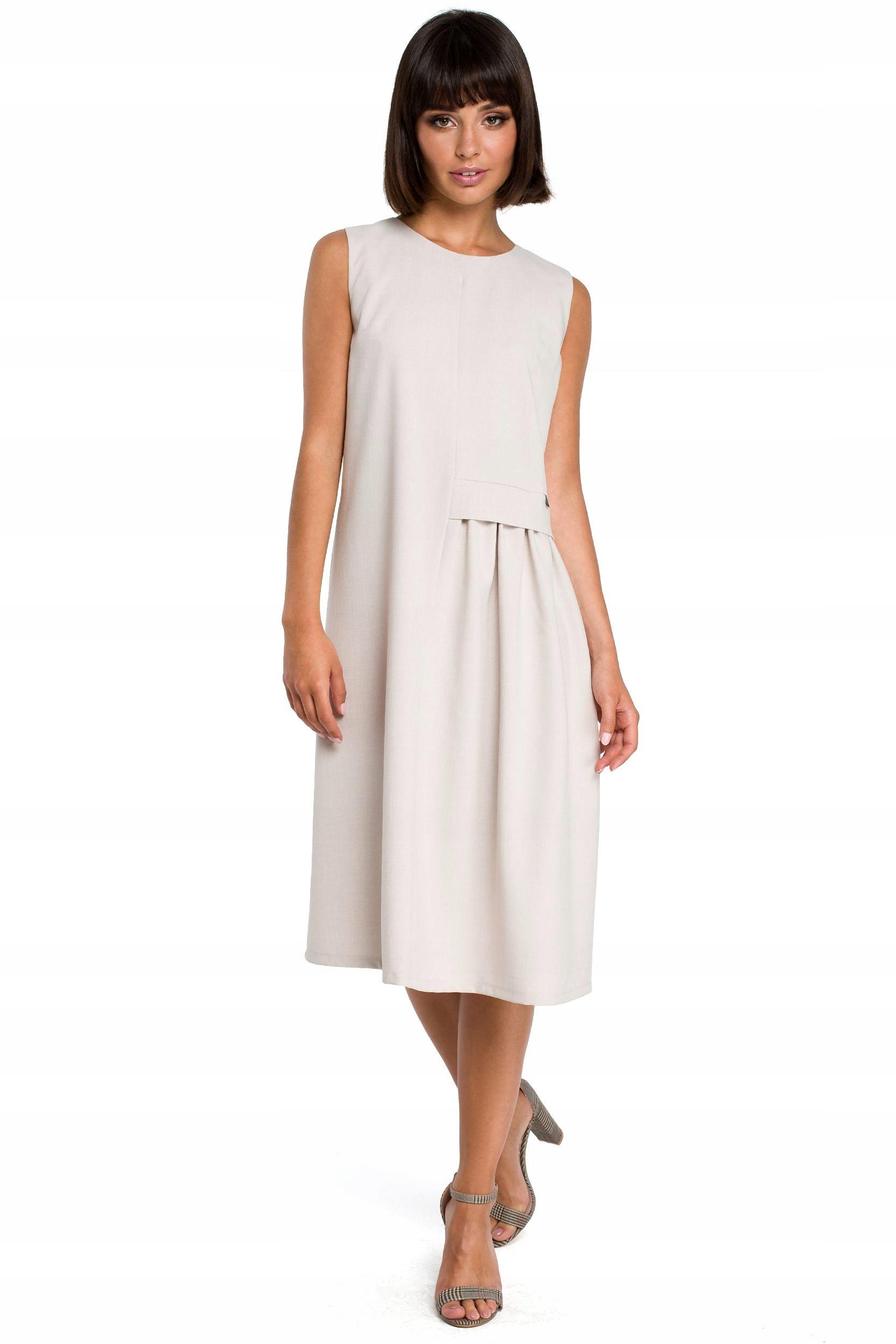B080 Zwiewna sukienka midi bez rękawów - beżowa 38