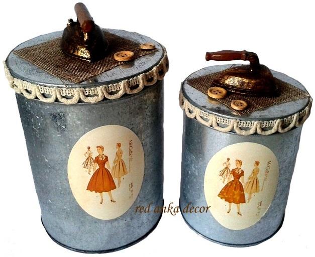 NA NIŤ kovové nádoby KOVOVÁ BOX retro 16 cm