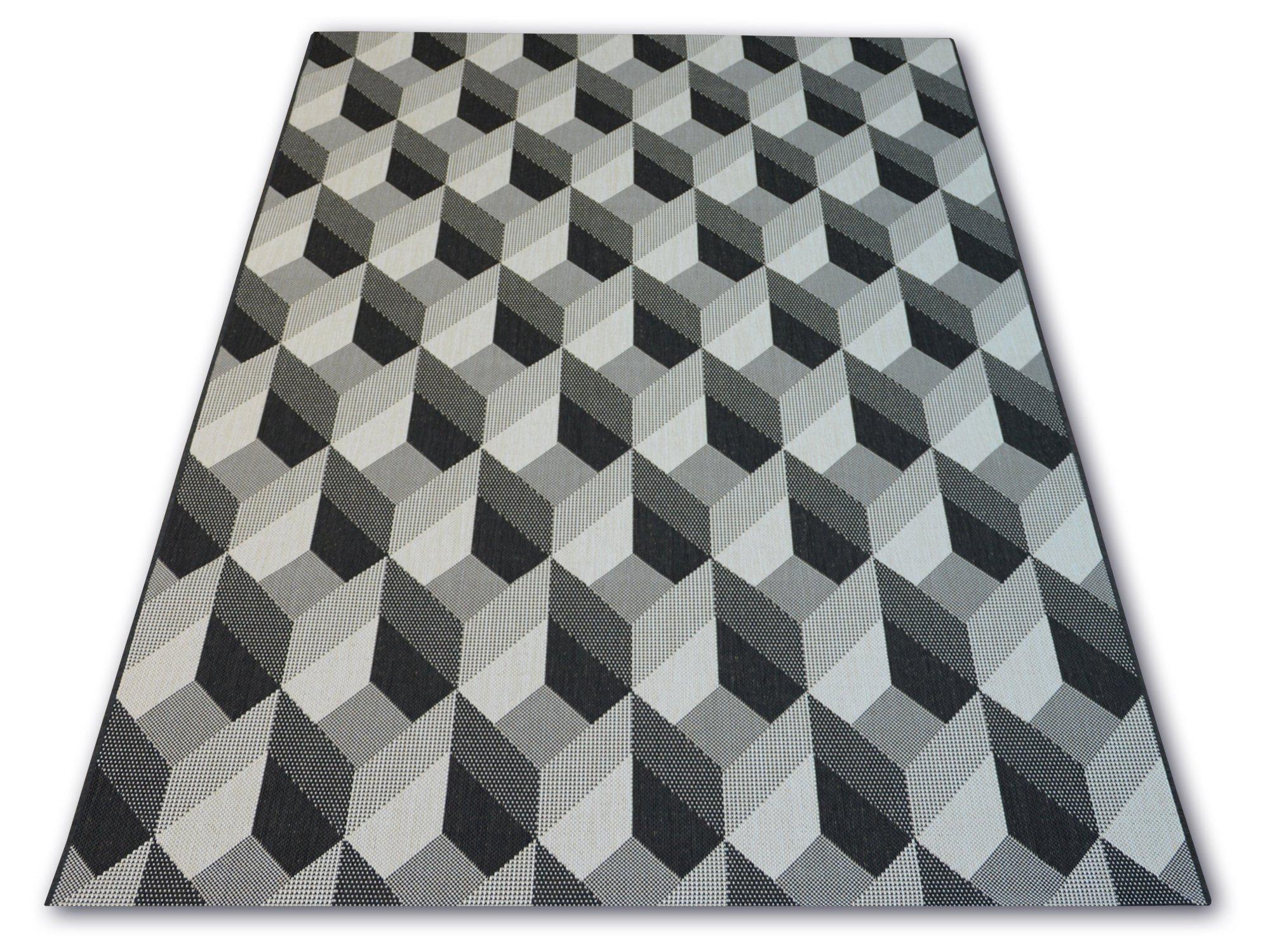 A SISAL koberec 120x170 MOZAIKY sivá/čierna #B311