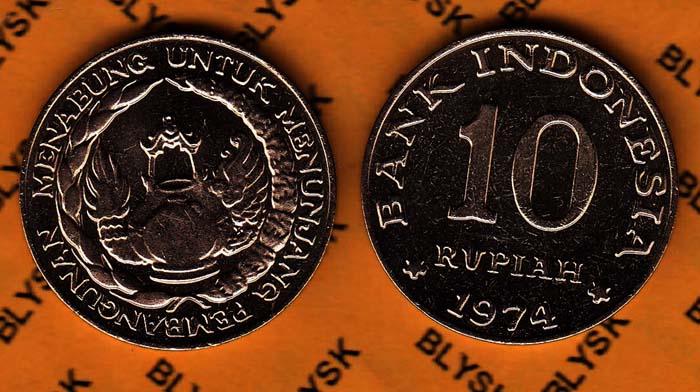 INDONEZJA /KM-38/ 10 RUPIAH 1974 Wieńce Stan I/-I