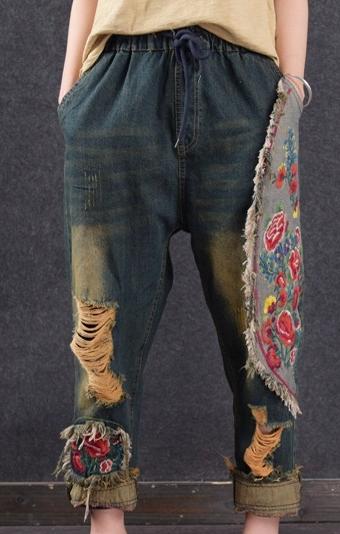 Dámske nohavice - NOHAVICE - VINTAGE - OTVORY tlačidlo prehrávača