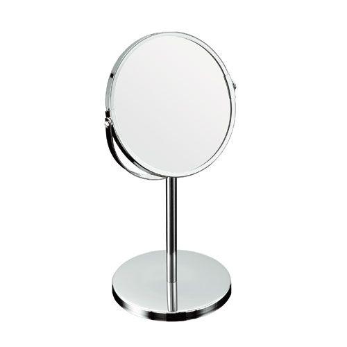 Kozmetické kúpeľňové zrkadlo na chrómovej nohe