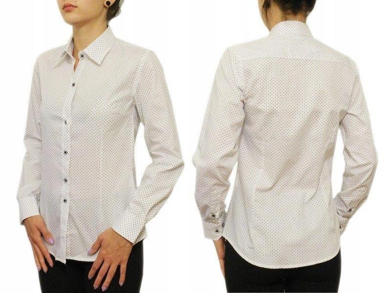 Elegancka biała koszula damska Slim kropki 36/S