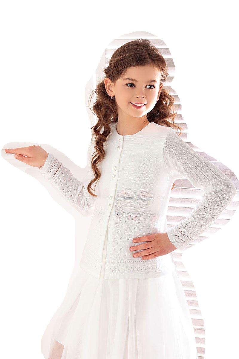 1727_Lekki sweterek ażurowy biały komunia rozm 140