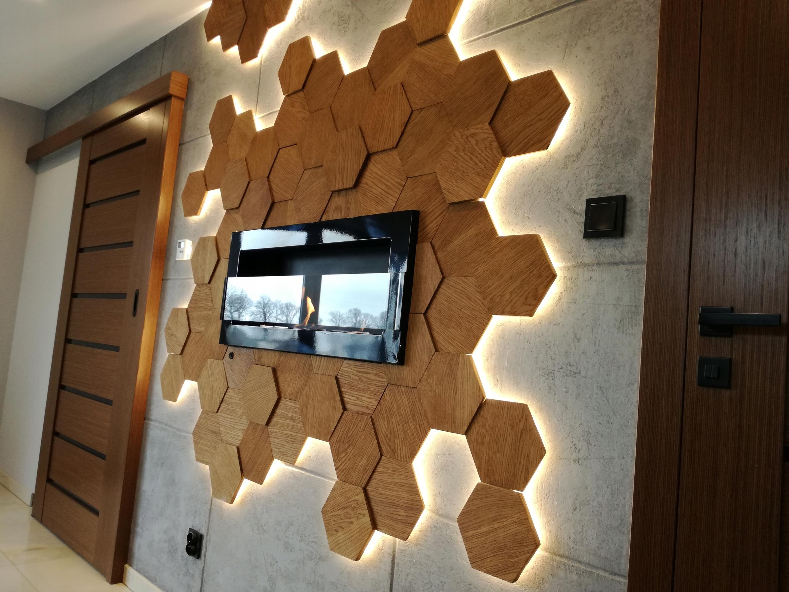 Plaster Miodu Drewniane Panele ścienne Dąb Kpl 4