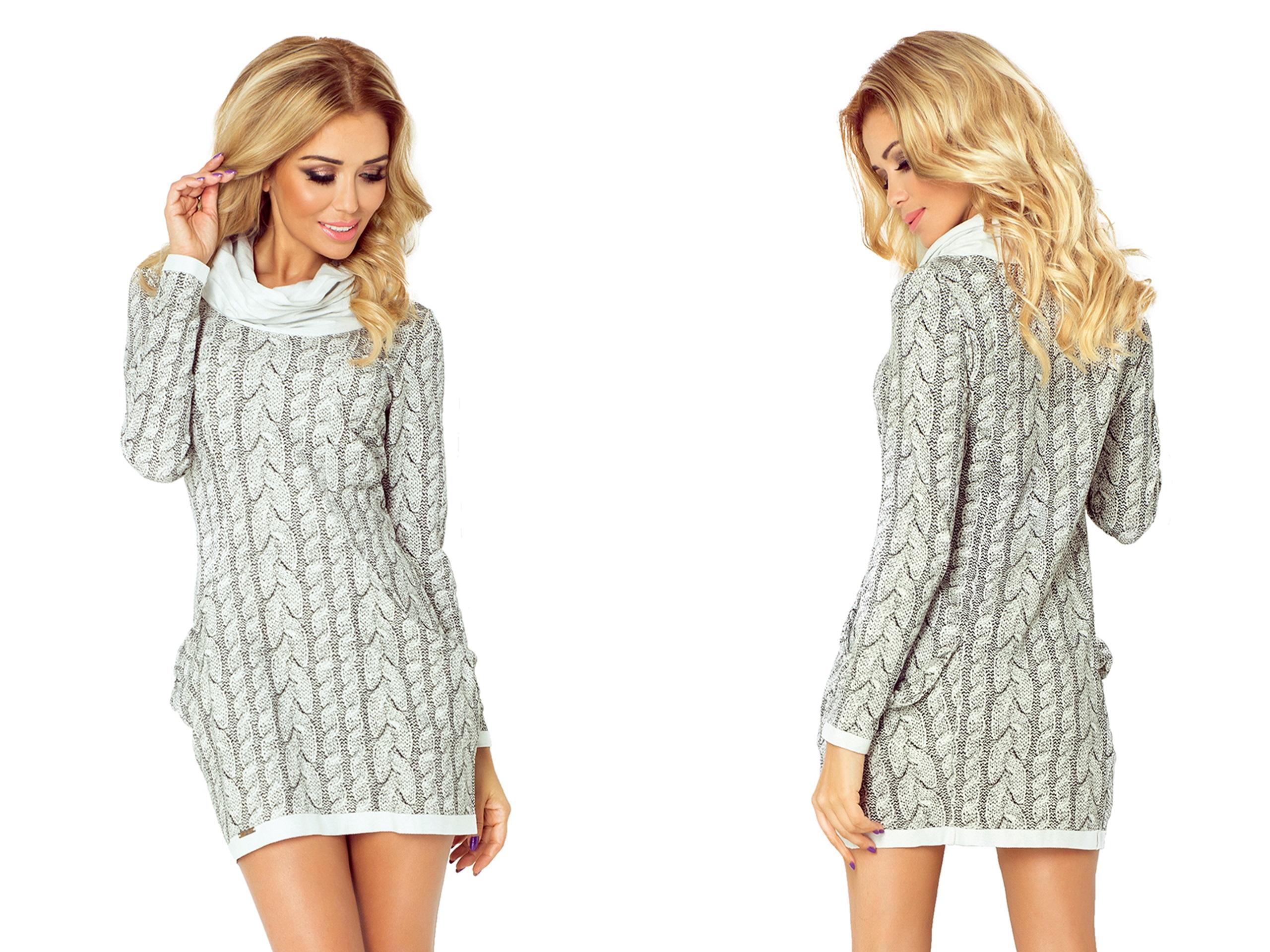 1257105a0d MODNA Mini Sukienka Z GOLFEM+ KIESZONKI 119-1 XS 7297157883 - Allegro.pl