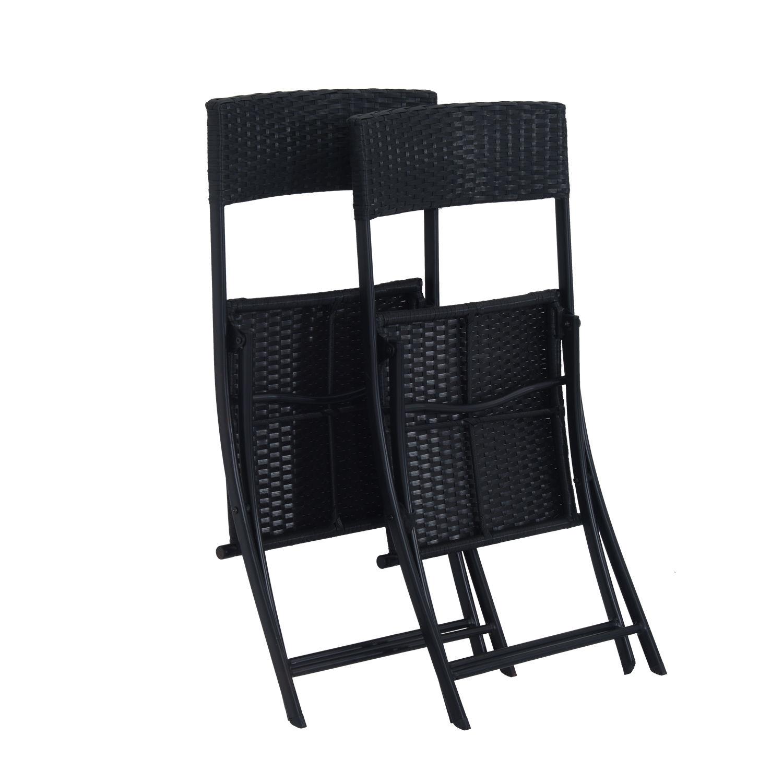 Ratanový záhradný nábytok, stôl a stoličky, čierna súprava. Hmotnosť produktu s jednotkovým balením: 12 kg