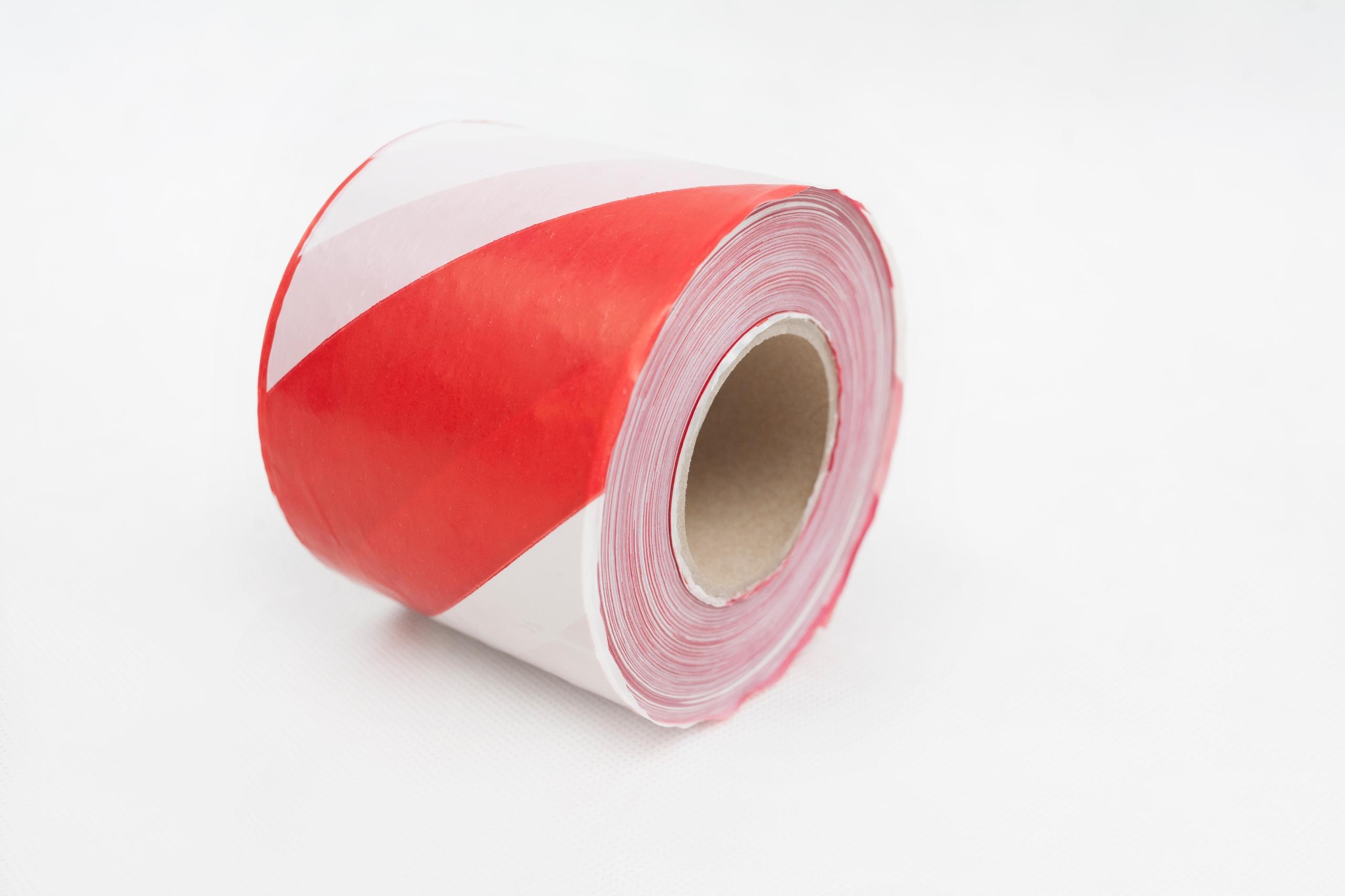 Пленка, лента оградительная бело-красная 80/100,