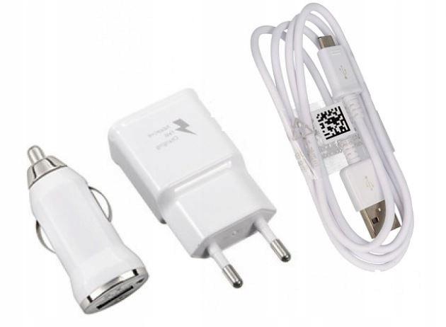 ZESTAW 3w1 ŁADOWARKA SIECIOWA + SAMOCHODOWA USB 7661149078