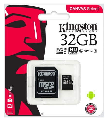KINGSTON Karta Pamięci micro SD 32GB C10 + ADAPTER