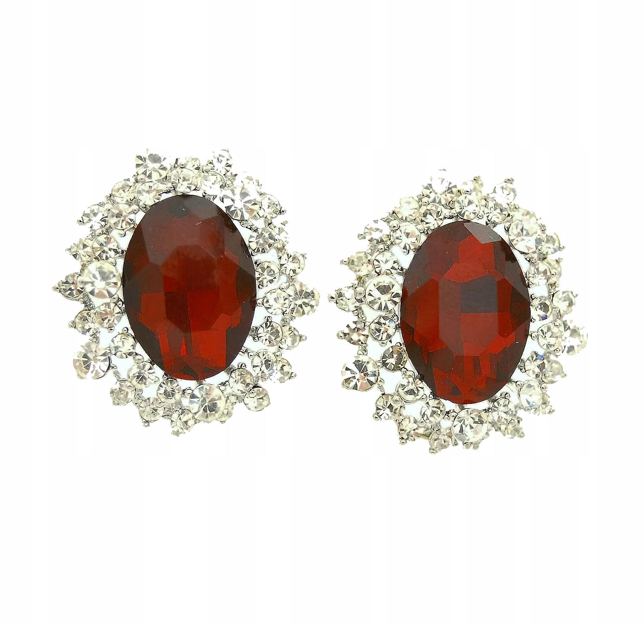 Clip-on náušnice červený kameň kamienkami oválne vintage c23