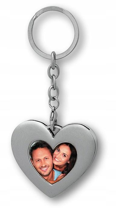 Купить брелок фото в сердце металлический серебряный день святого Валентина на Otpravka - цены и фото - доставка из Польши и стран Европы в Украину.
