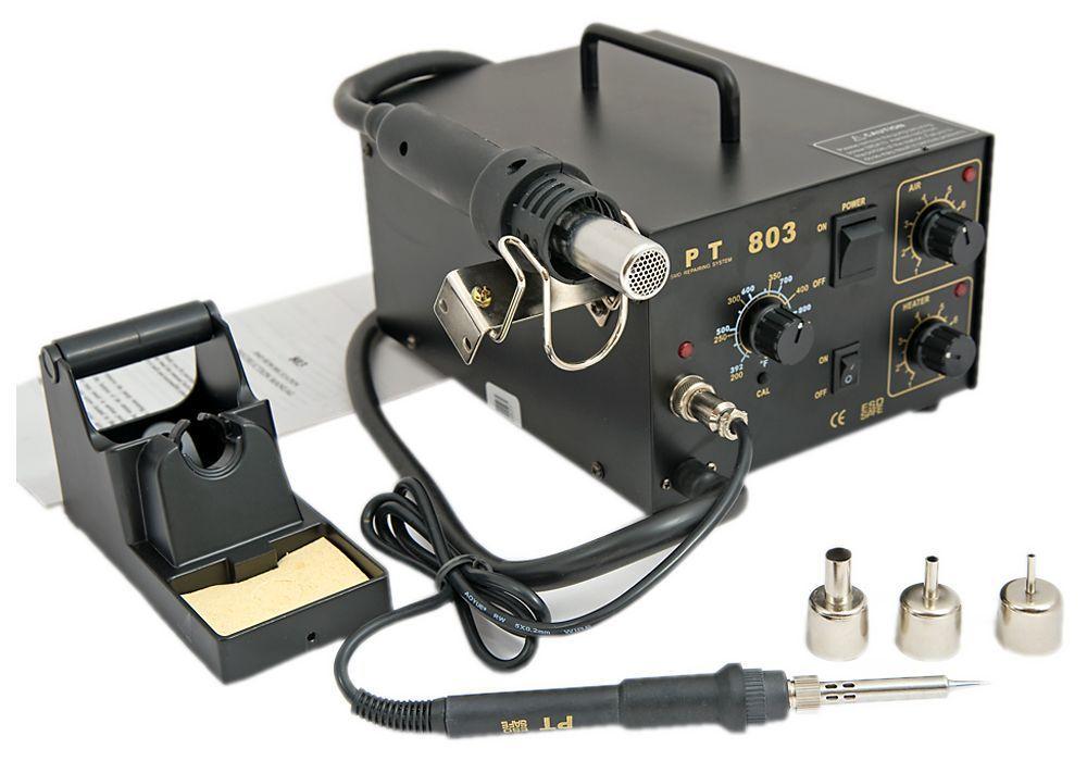 Teplovzdušná spájkovacia stanica PT 803 + hrot + 3 dýzy