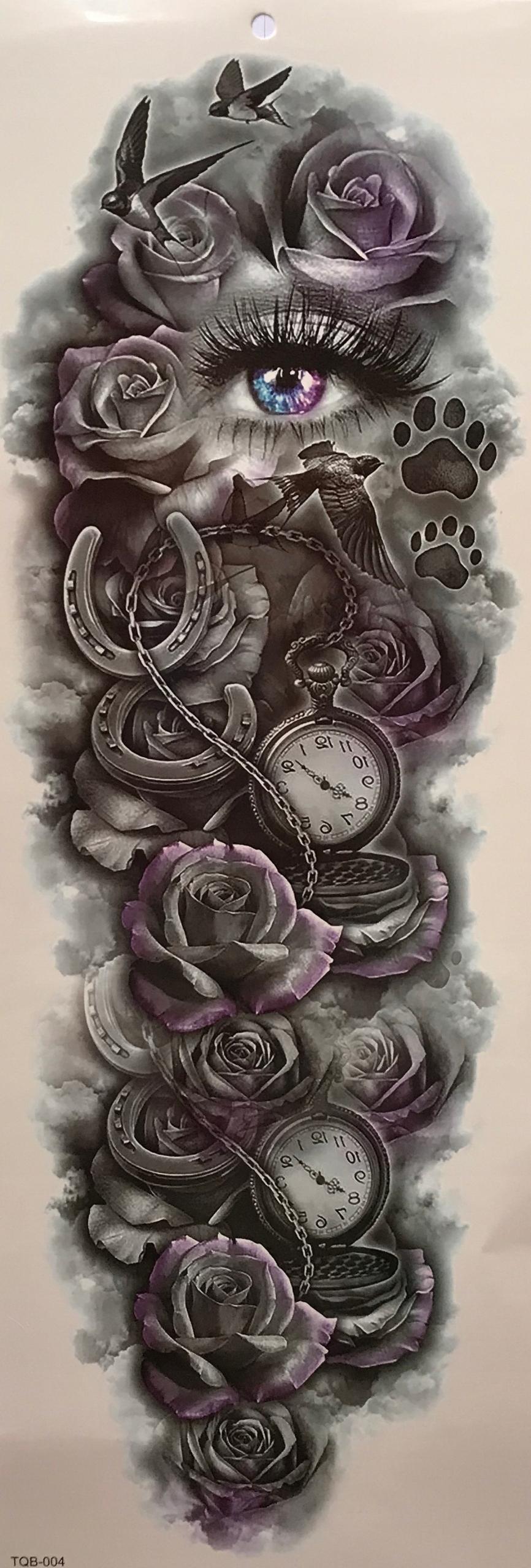 Tatuaż Rękaw Zegar Kwiat Oko Ptak Czas Podkowa 1