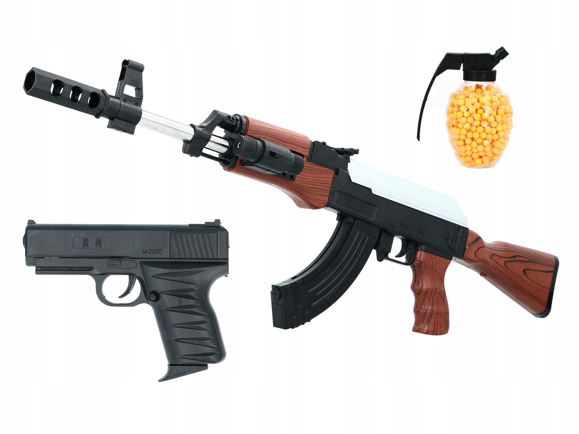 Puška KALASZNIKOW AK47 + PISTOLE + LOPTY