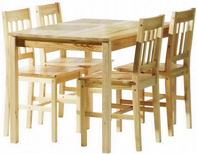 Drevený STÔL + 4 stoličky pre kuchynské 100% z Borovice