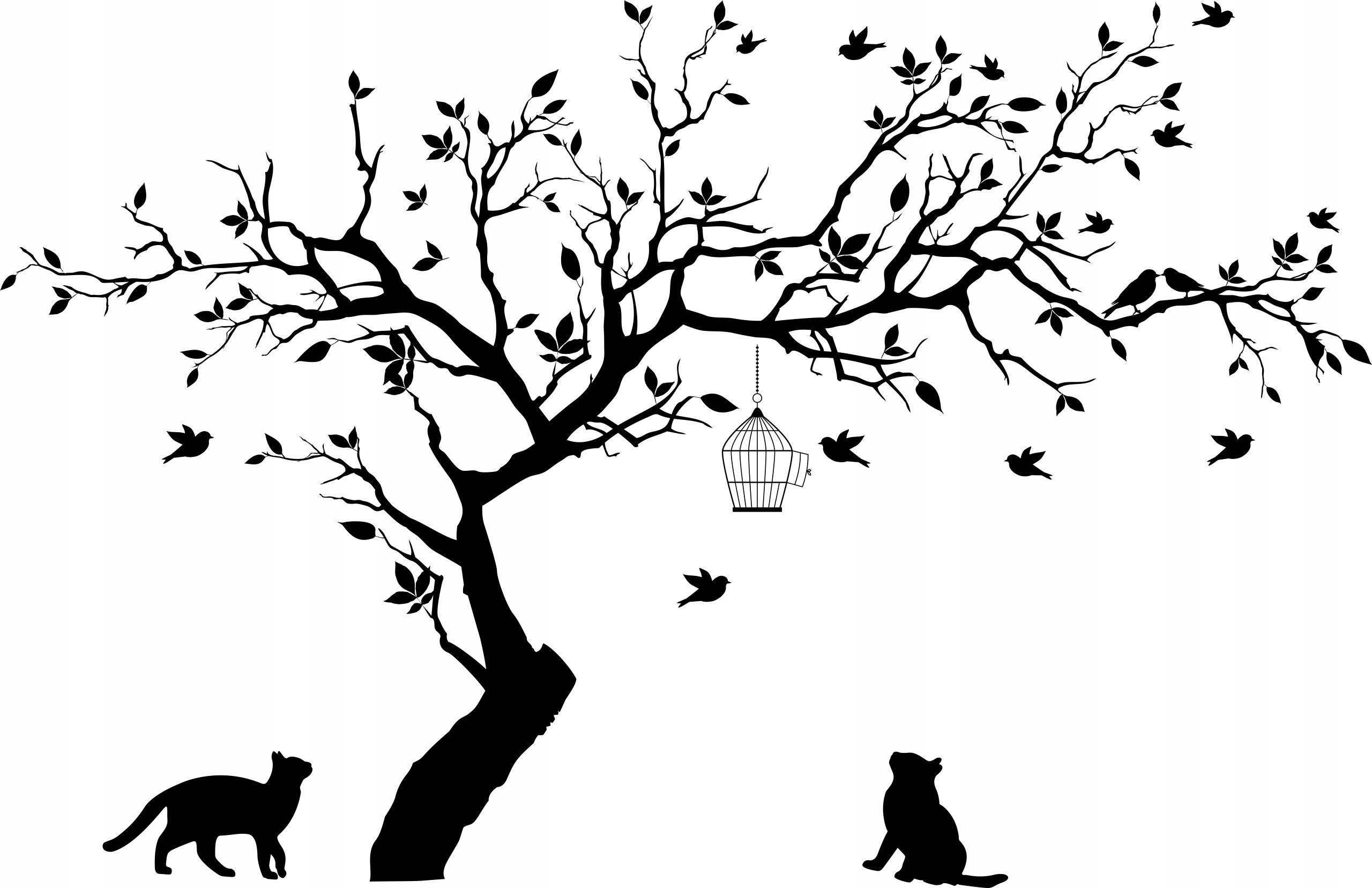 naklejka drzewo na ścianę ścienna koty ptaki 1520