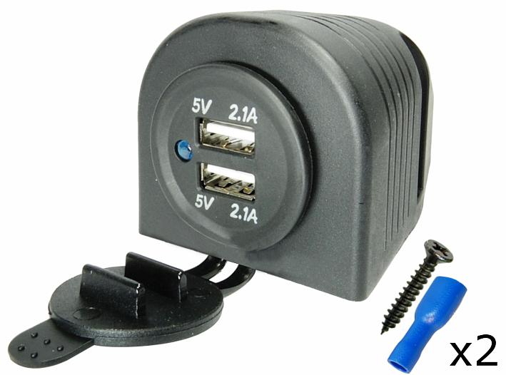 ЗАРЯДНОЕ УСТРОЙСТВО USB 5V 4,2 A РАЗЪЕМ ГЕРМЕТИЧНЫЙ 12V 24V
