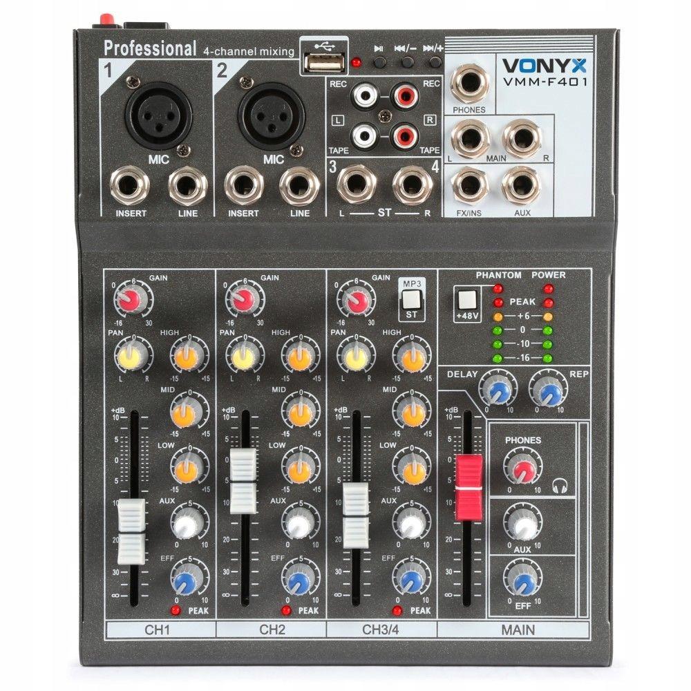 4-kanálový mixér VONIX VMM-F401 USB PHANTOM RCA