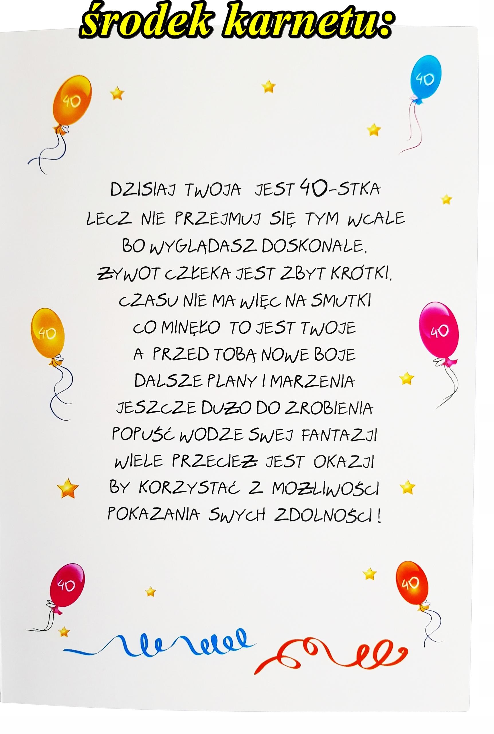 Ogromna Kartka Xxl Na 40 Urodziny Dla Faceta
