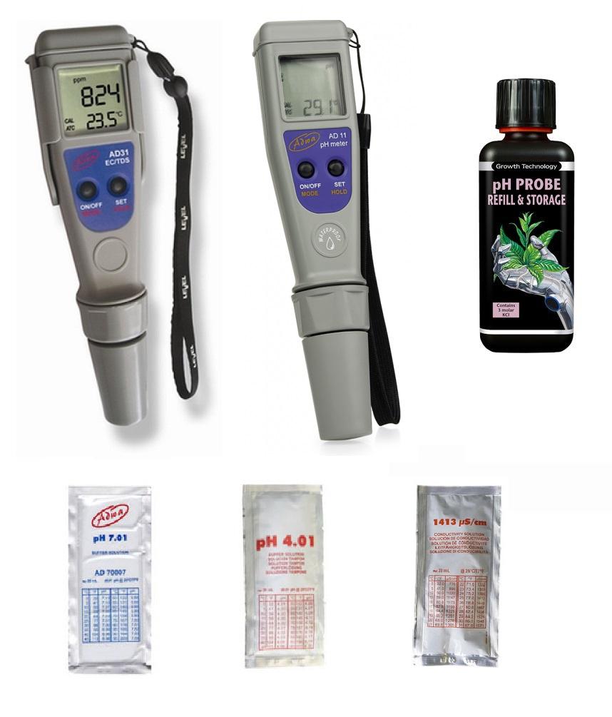 PH EC meter ADWA AD31 AD11 +kvapalina KCL +reagencie