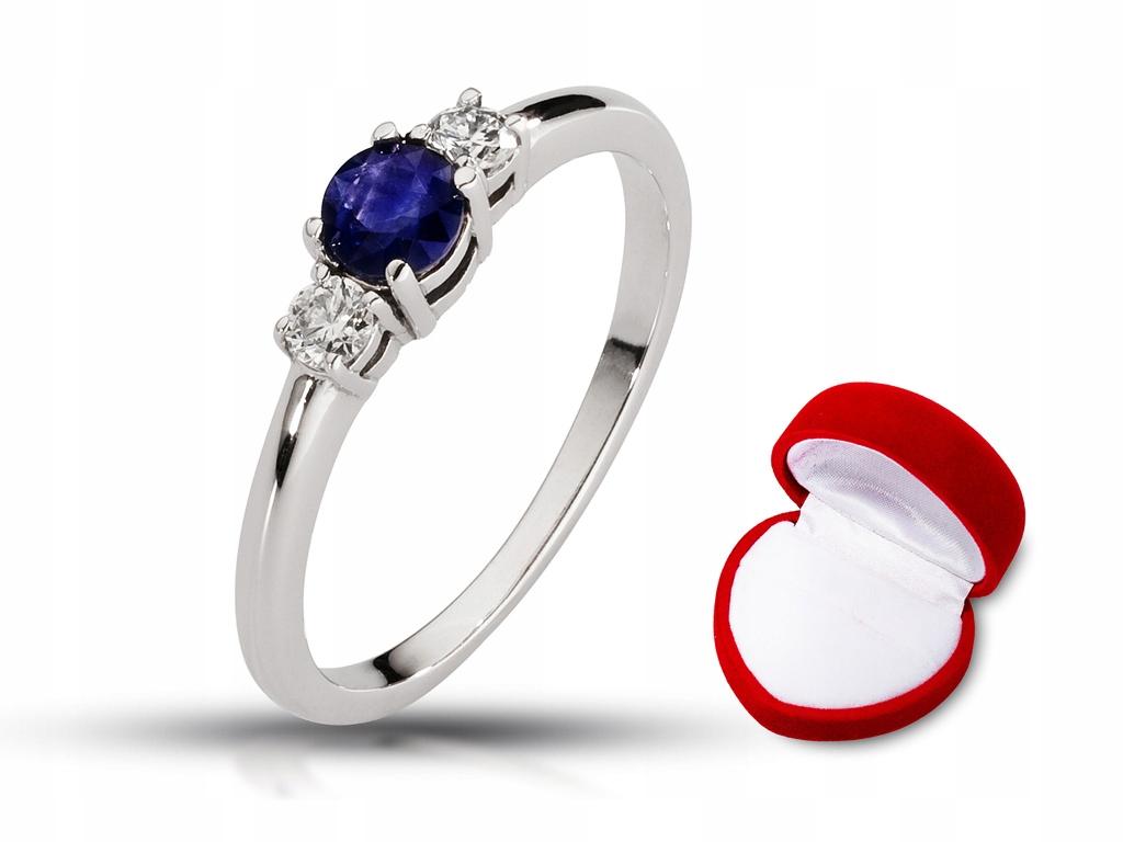 Pierścionek zaręczynowy z brylantami Vs i szafirem