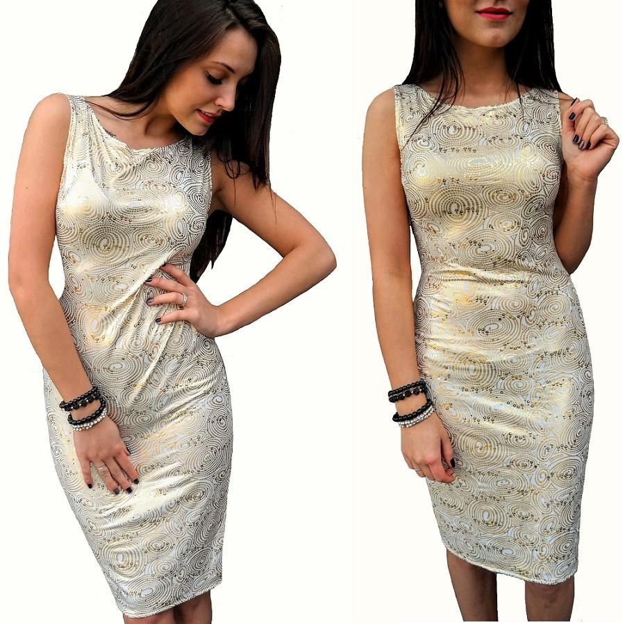 ołówkowa Biała sukienka złoto cekiny 38 Dłuższa ?