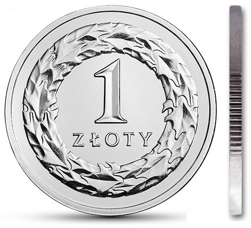 Монета 1 злотый 1992 г. из мешочка