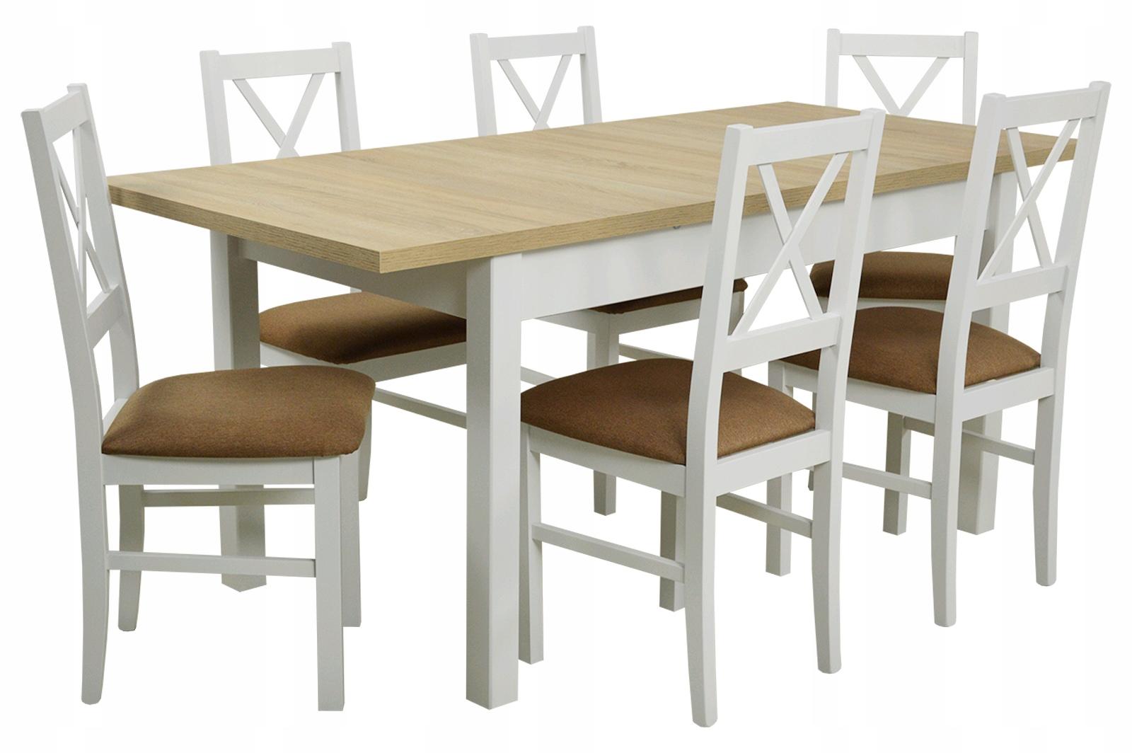 Белый деревянный комплект стол 80x140x180 и 6 СТУЛЬЯ