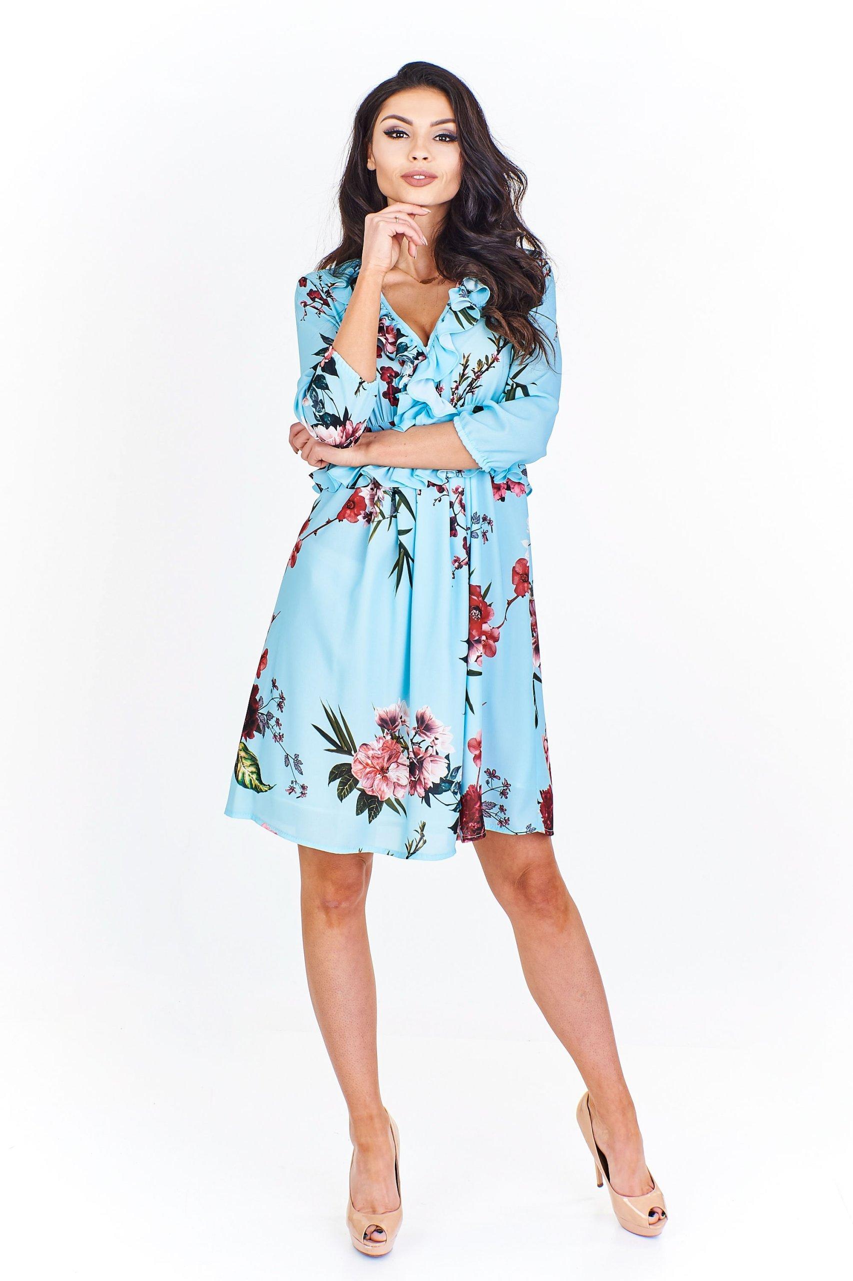 cfec81e690 Rozkloszowana sukienka w kwiaty na wesele.L - 7384904394 - oficjalne ...