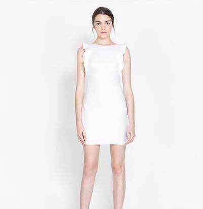 82ee0add81 Biała sukienka ZARA falbanka 36 S asos wesele mini - 7416425882 ...