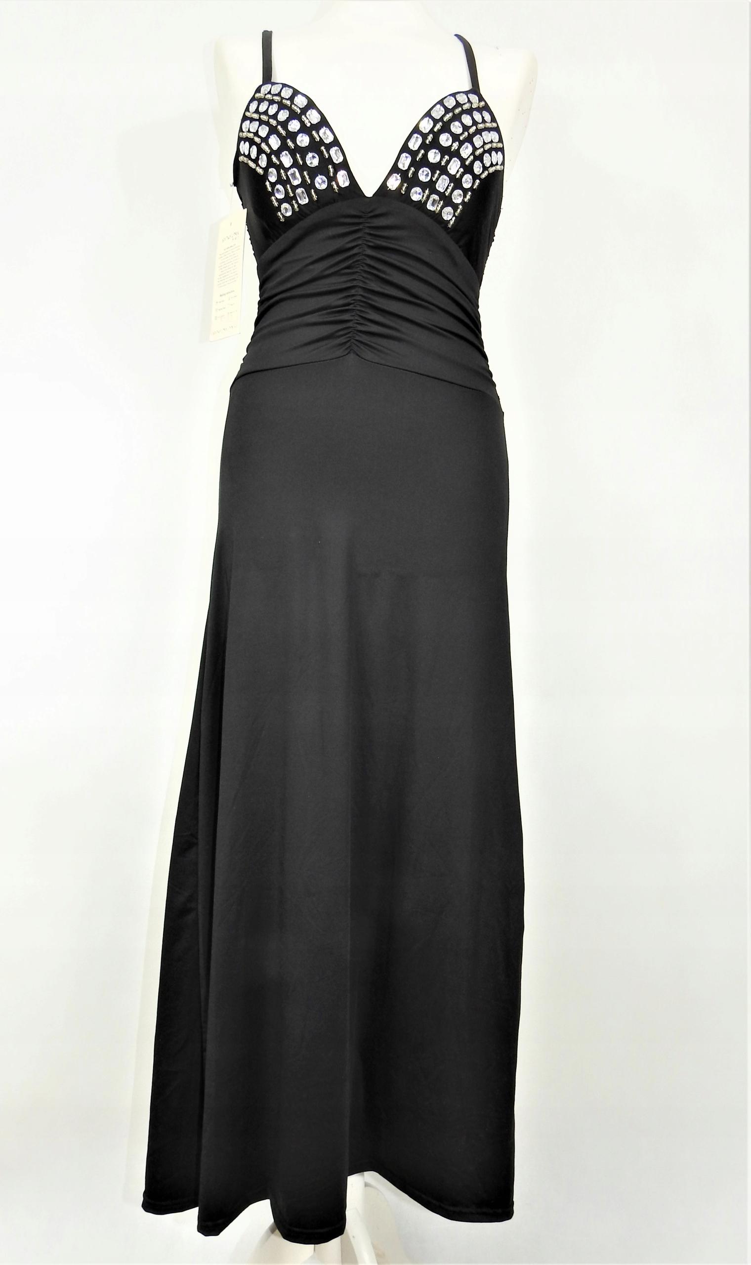 6744a57231 Nowa balowa suknia długa czarna cyrkonie 36 38 S M - 7762912353 ...