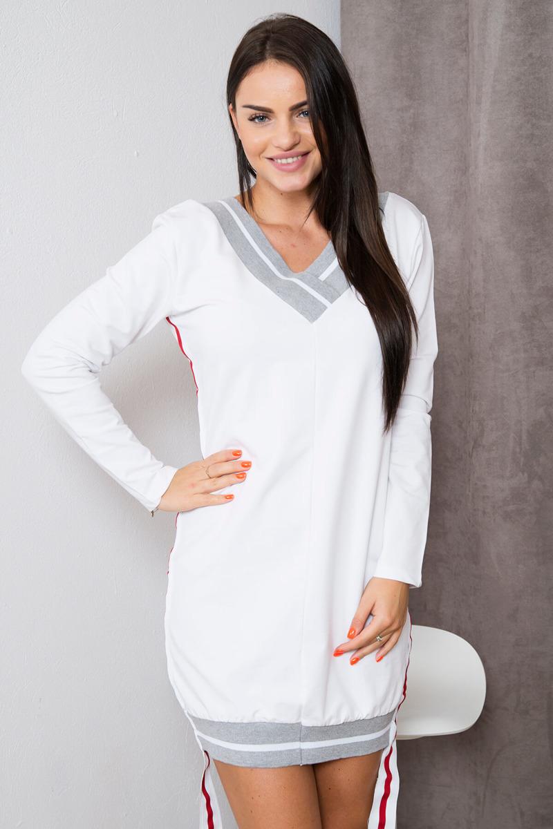 2e105abe16 Sukienka z szerokim lampasem biała un. super zima - 7146334619 ...