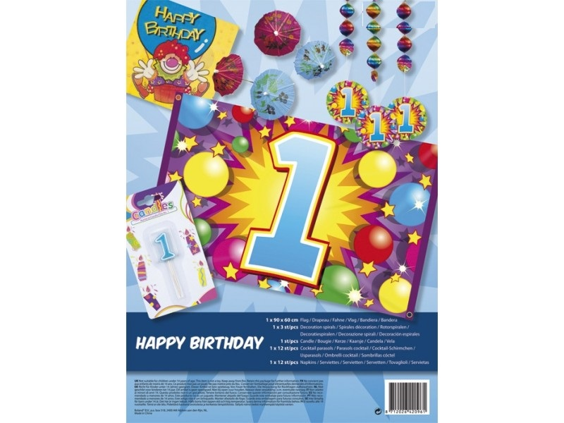 Zestaw 1 Urodziny Baner Roczek świeczka Dekoracje 6734439871