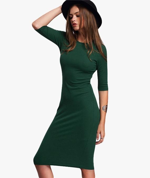 8532c06339 Elegancka Letnia Zielona Sukienka Typu Bodycon - 7414281568 ...