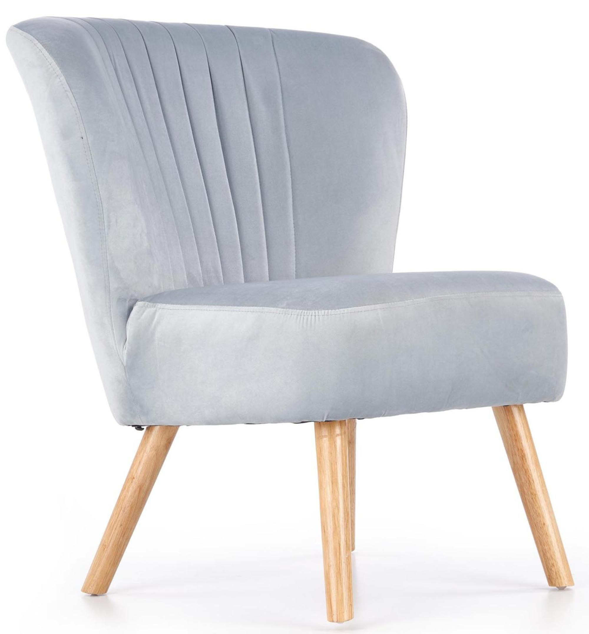 Fotel Do Salonu Elegancki Jasny Popiel Welur 7367169081