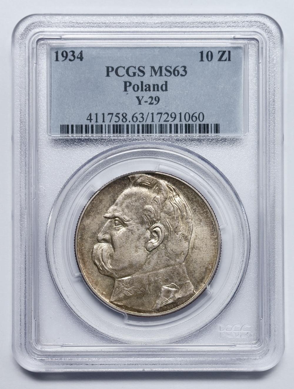 10zł.Piłsudski1934r.urzędowy PCGS MS63