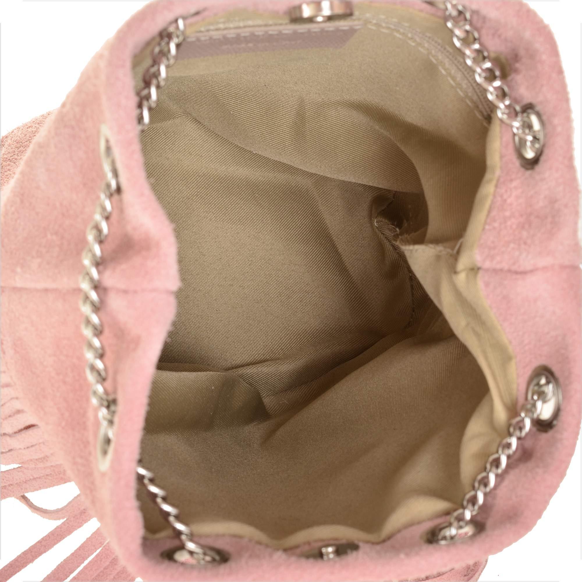 e69e475eada74 Zamszowe torebki damskie, worek róż pudrowy - 7324894921 - oficjalne ...