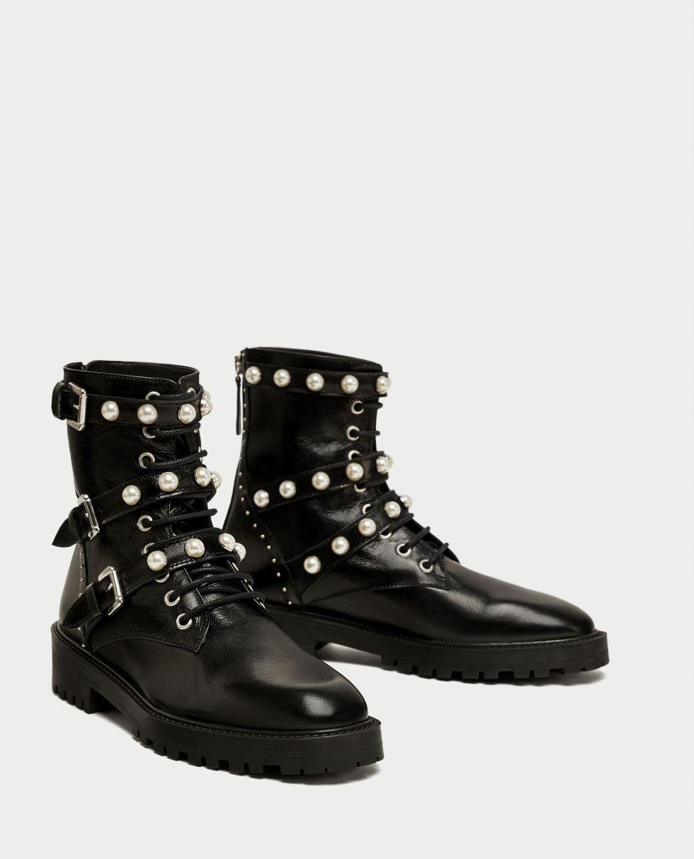 d36056ac666d0 botki czarne Zara perły z perłami oryginalne 39 - 7697030241 ...
