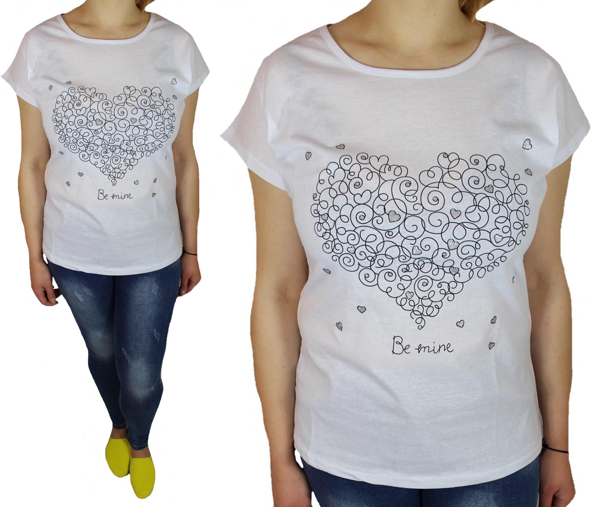 095ba1c1a86c1 Bawełniane bluzki t-shirty damskie wzór SERCE 2XL - 7296548064 ...