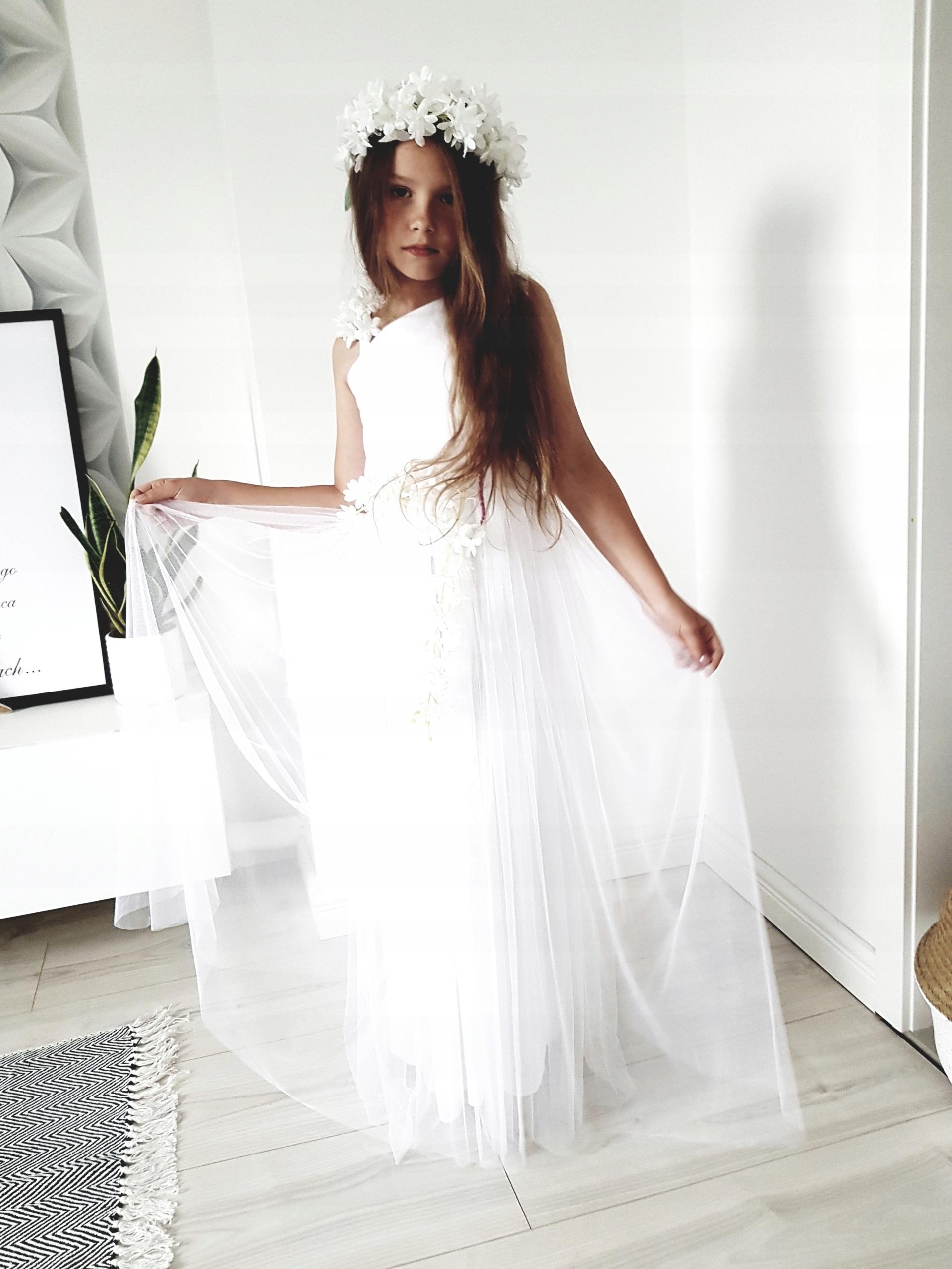 62b3182204 Romantyczna DŁUGA Sukienka DRUHNA r.122-na miare - 7451547452 ...