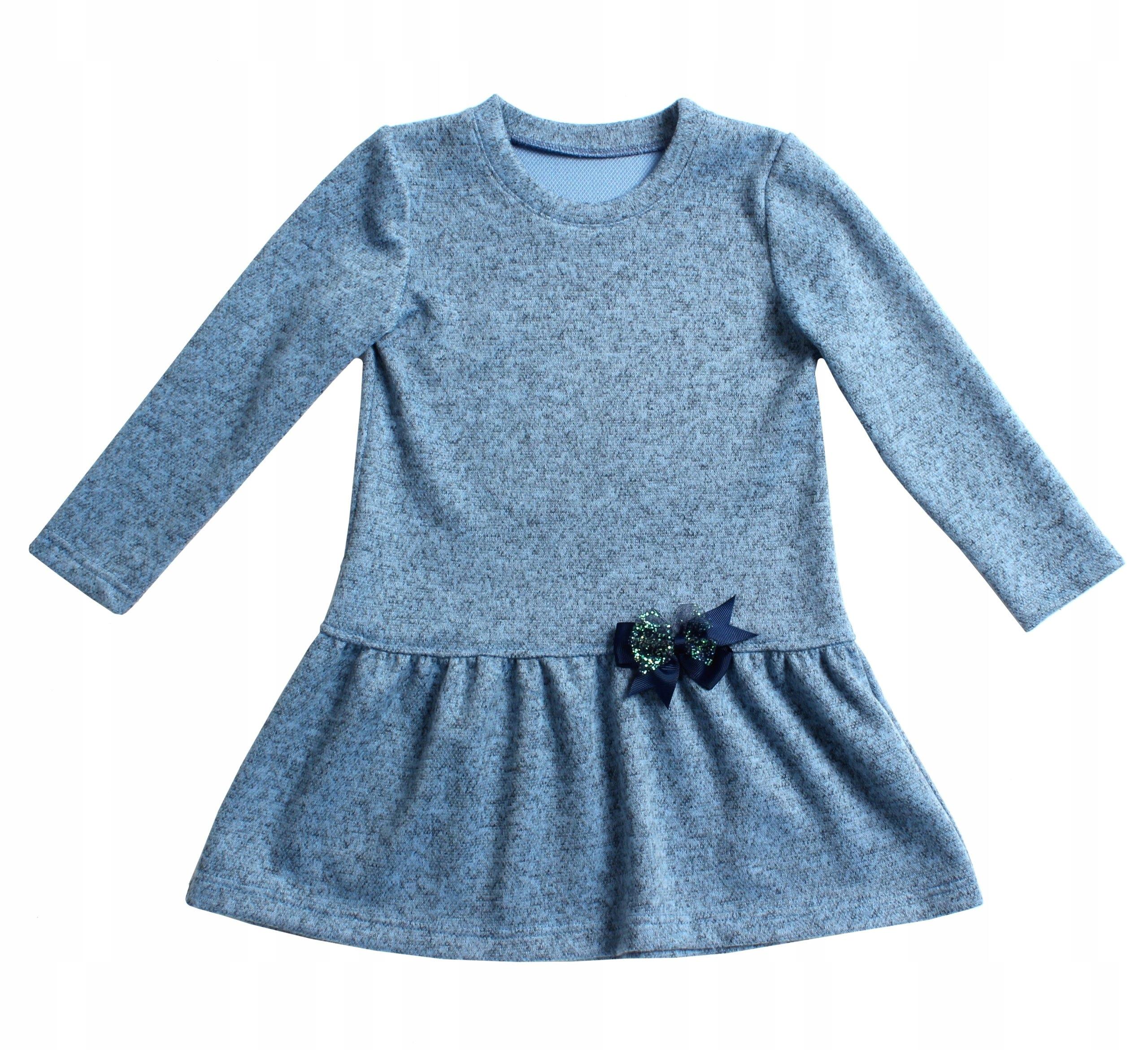 7e56ce5e1b Niebieska sukienka dla dziewczynki Dzianina 110 - 7089558004 - oficjalne  archiwum allegro